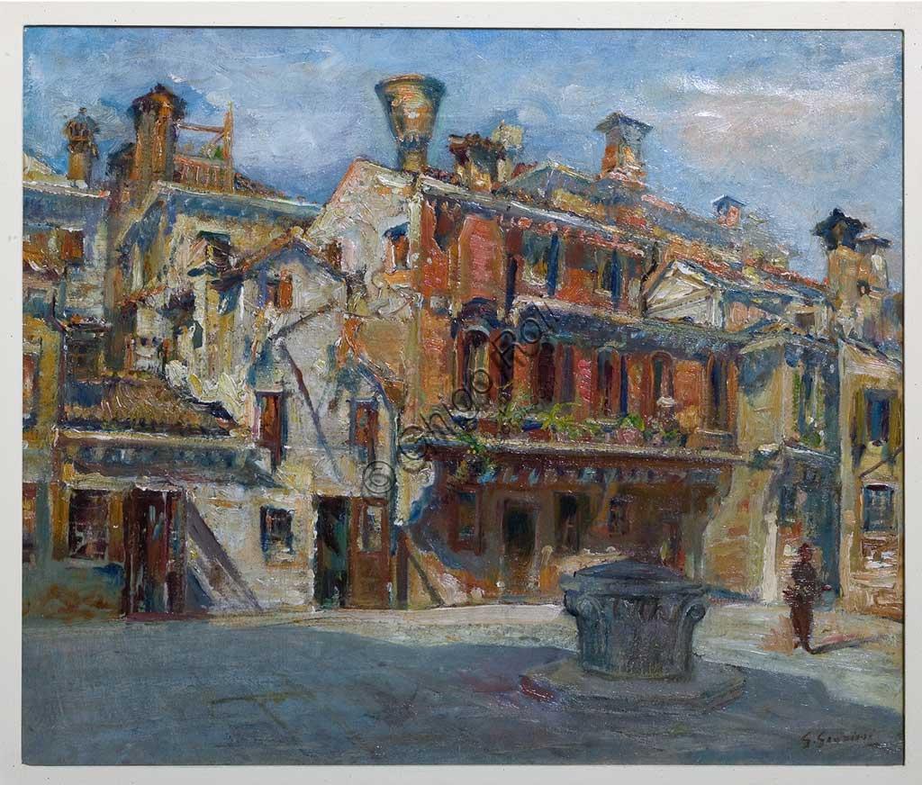 """Collezione Assicoop - Unipol: Giuseppe Graziosi, """"Piazza del teatro, Venezia"""", olio su tela."""