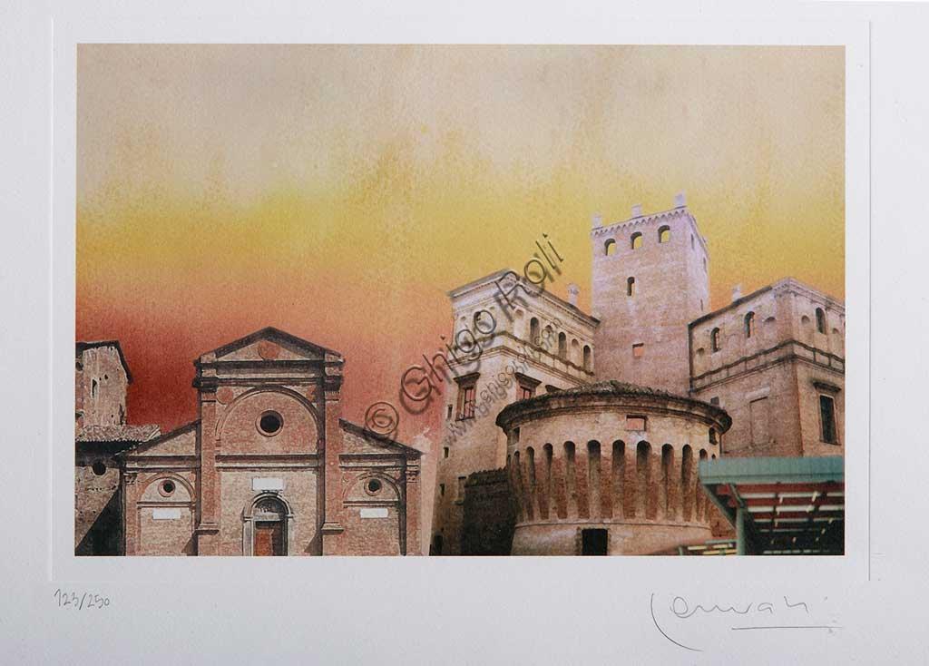 """Assicoop - Unipol Collection:  Erio Carnevali (1949 - ), """"Square in Carpi"""", print."""