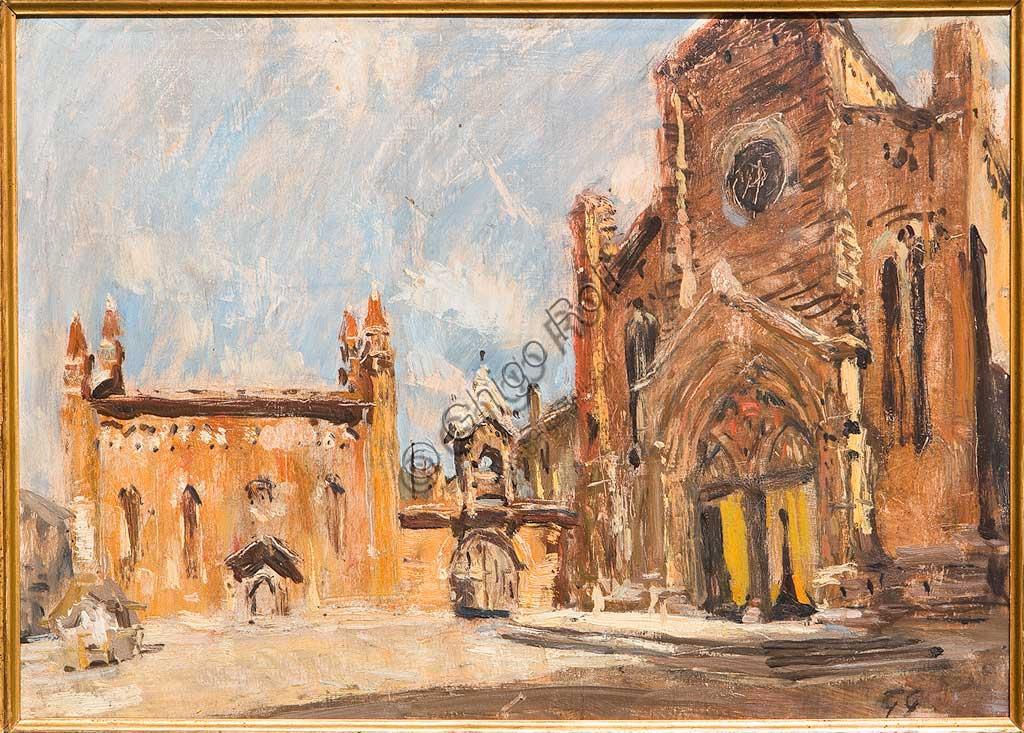 """Collezione Assicoop - Unipol: Giuseppe Graziosi (1879-1942), """"Piazza di Verona"""". Olio su compensato, cm 55 x 41."""