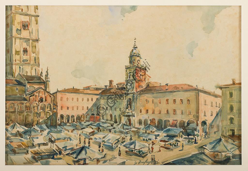 """Assicoop - Unipol Collection:Ghigo Zanfrognini: """"Piazza Grande in Modena"""". Watercolour, cm 32 x 47."""