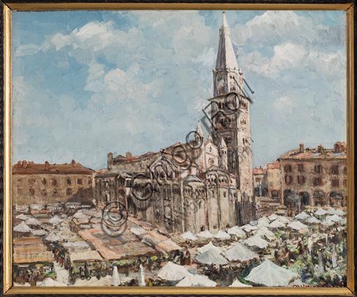 """Casimiro Jodi, (1886-1948): """"Piazza Grande di Modena""""; olio su tavola, cm. 50 × 60."""