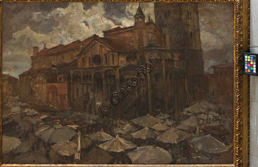 "Assicoop - Unipol Collection: Mario Vellani Marchi (1895 - 1979), ""Piazza Grande in Modena"", oil on plywood."