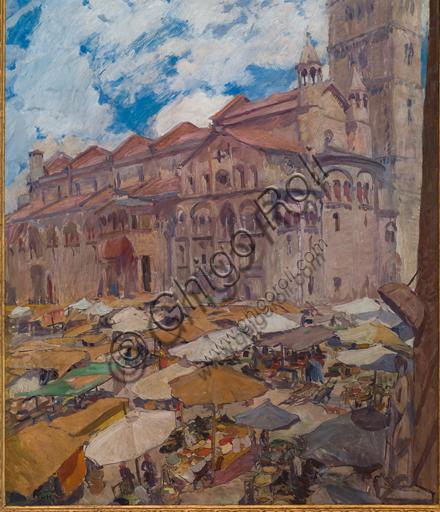 """Giuseppe Graziosi (1879 - 1942): """"Piazza Grande di Modena""""; olio su tela, cm 98 X 115."""