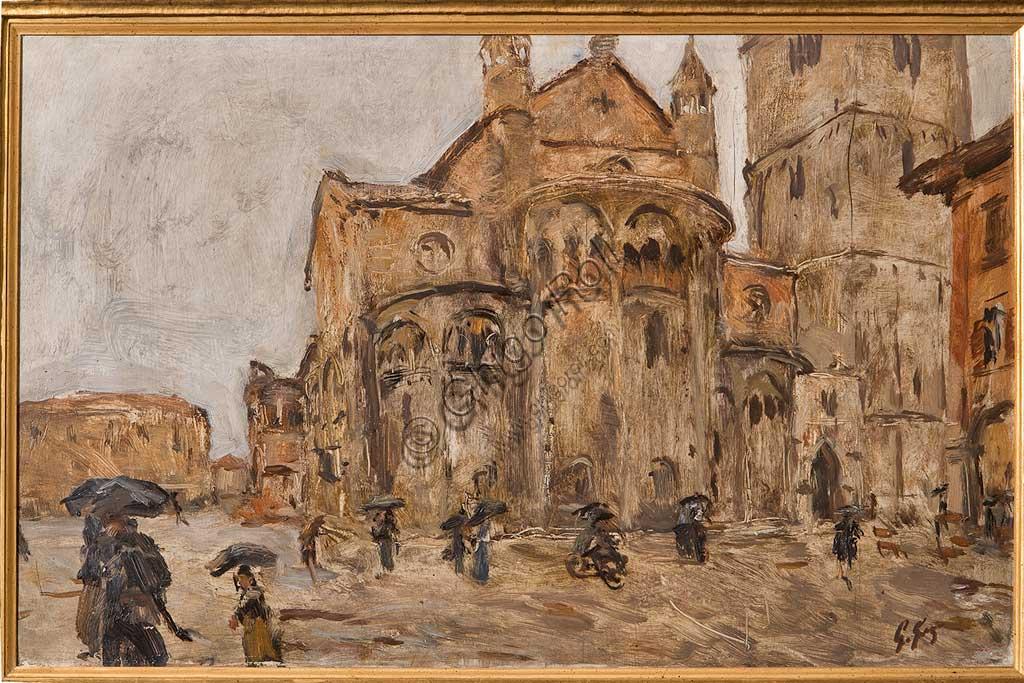 """Collezione Assicoop - Unipol: Giuseppe Graziosi (1879-1942), """"Piazza Grande sotto la pioggia"""". Olio su compensato, cm. 74,5 x 47."""