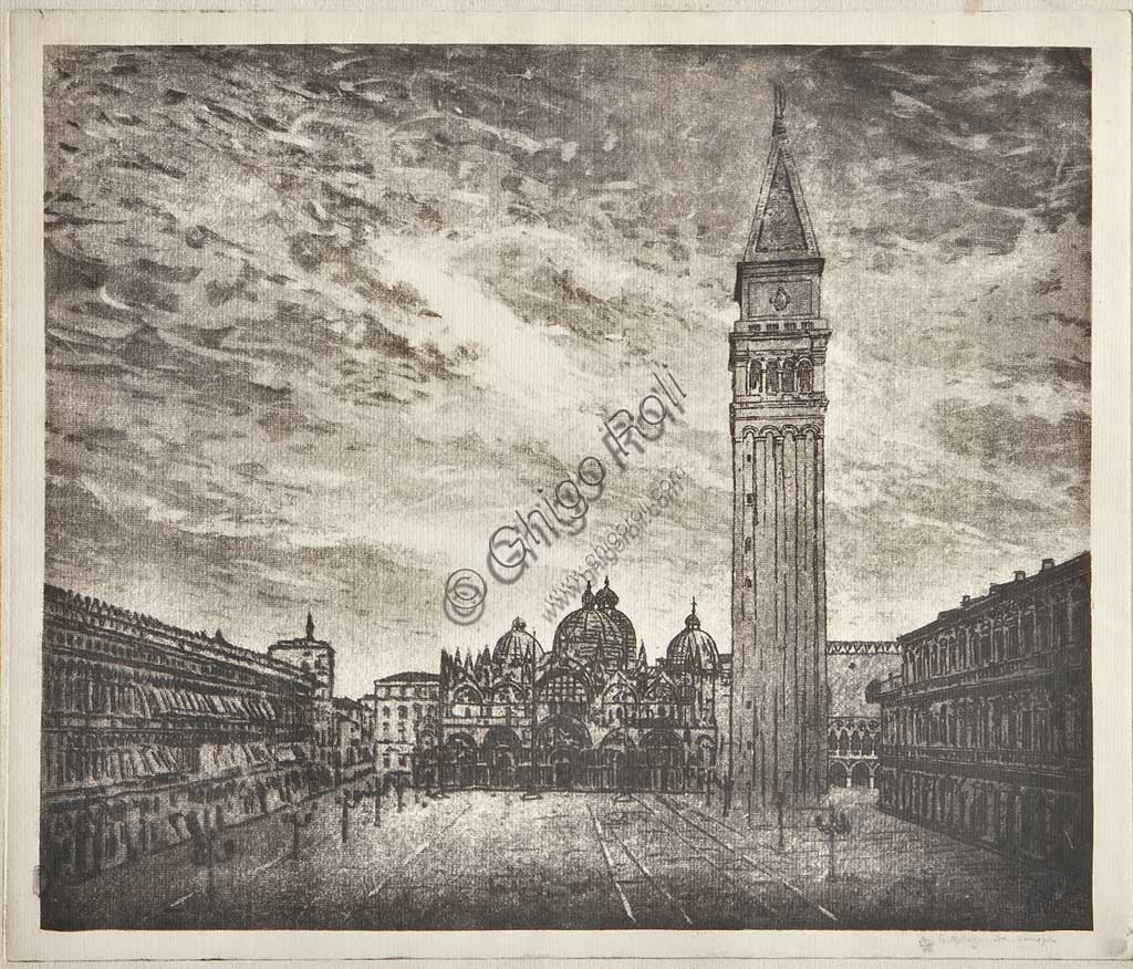 "Assicoop - Unipol Collection: ""St Mark's Square"", etching  on white paper, by Giuseppe Miti Zanetti (1859 - 1929)."