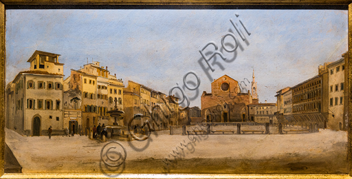 "Giovanni Signorini: ""St. Croce Square in Florence"", 1846, oil painting on cardboard."