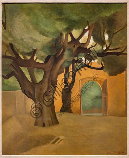 """Museo Novecento: """"Piazzale alberato"""", di Antonio Donghi, 1925. Olio su tela."""
