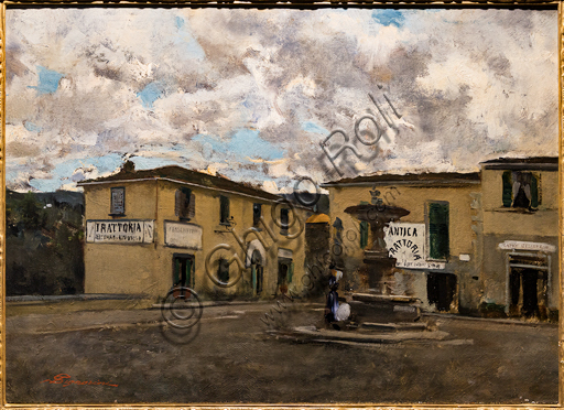 """Telemaco Signorini: """"The Small Square in Settignano in a Rainy Day"""",  about 1861, oil painting on canvas."""