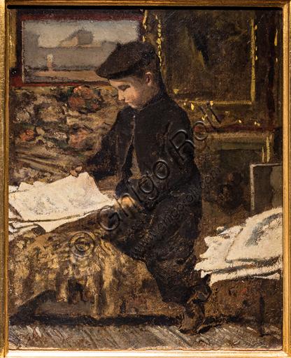 "Telemaco Signorini: ""The Little Art Amateur "", 1868-70, oil painting on cardboard."