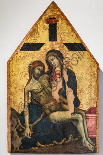 "Montefalco, Museum of St. Francis: ""Pietà"", by Umbria painter (about 1330). Tempera with golden background on panel ."