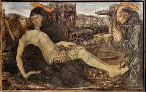 """""""Pietà con committente in veste di San Francesco"""", di Francesco del Cossa. 1467."""