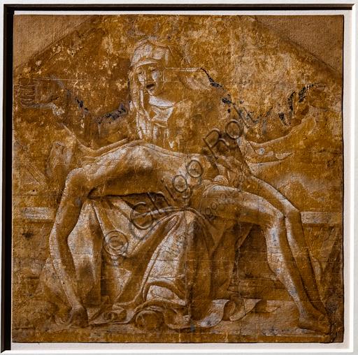 """""""Pietà"""", di Ercole de' Roberti, 1475-80 circa. Disegno a penna, acquarello e biacca su carta preparata in ocra rossa."""