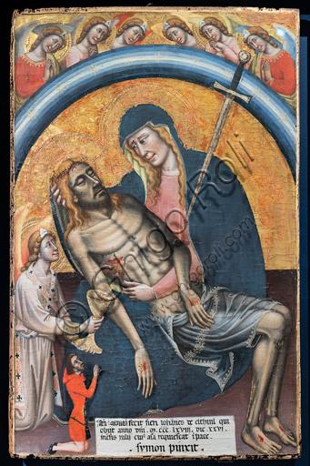 """""""Pietà"""" con il committente, Iahannes de Elthinl, di Simone dei Crocifissi, 1368 ca. La Vergine è rappresentata come Madonna dei dolori, con una spada nel cuore."""