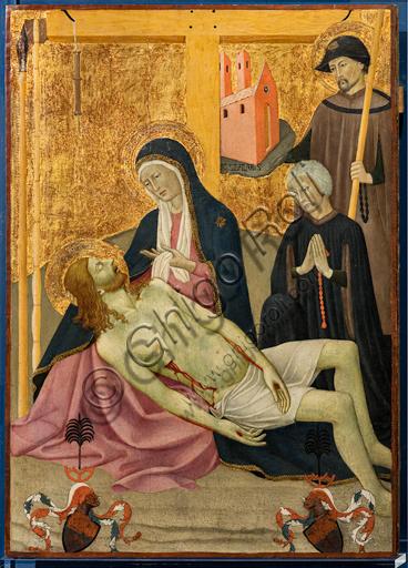 """""""Pietà con S. Sinibaldo e il committente Peter Volckamer"""", 1432, di Maestro dell'Osservanza o Sano di Pietro."""