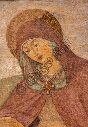 """Perugia, Galleria Nazionale dell'Umbria: """"Pietà tra i S. Giovanni Evangelista e Maria Maddalena"""", di Bartolomeo Caporali, nono decennio del XV secolo, affresco strappato e riportato su tela. Particolare."""