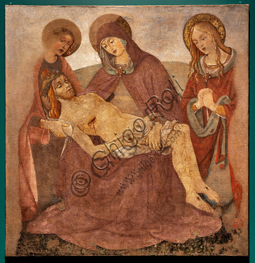 """Perugia, Galleria Nazionale dell'Umbria: """"Pietà tra i S. Giovanni Evangelista e Maria Maddalena"""", di Bartolomeo Caporali, nono decennio del XV secolo, affresco strappato e riportato su tela."""