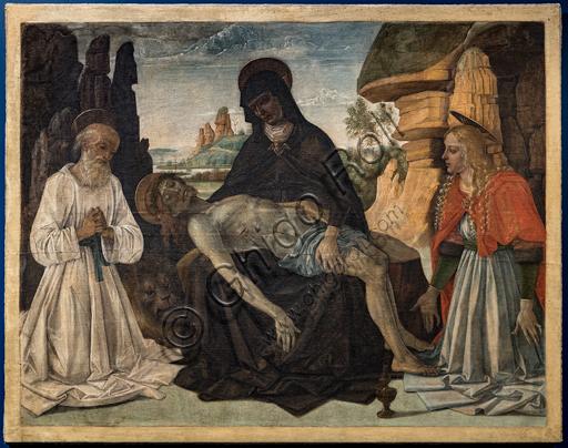 """""""Pietà tra S. Gerolamo e S. Maria Maddalena"""", dipinto concepito come gonfalone da portare in processione, di Pietro Vannucci detto il Perugino, 1473 circa."""