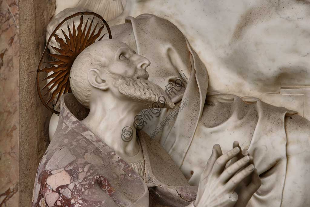 Church of Santa Croce, Mausoleum of St. Pius V: a high-relief in white marble representing  the Resurrection and Pius V in prayer. Based on a design by Giovanni Antonio Buzzi (1568-1571). Detail of Pius V praying.