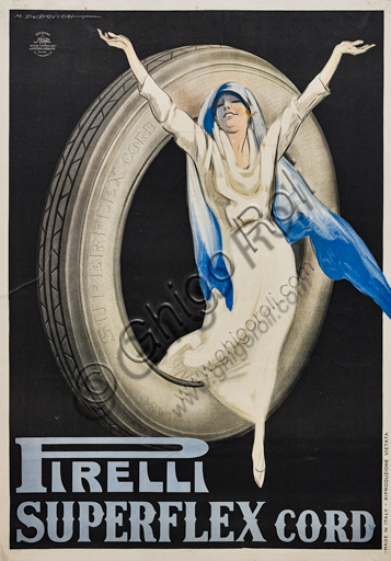 """""""Pirelli Superflex Cord"""", Illustration for advertising poster by Marcello Dudovich, 1922, chromolithography on paper."""