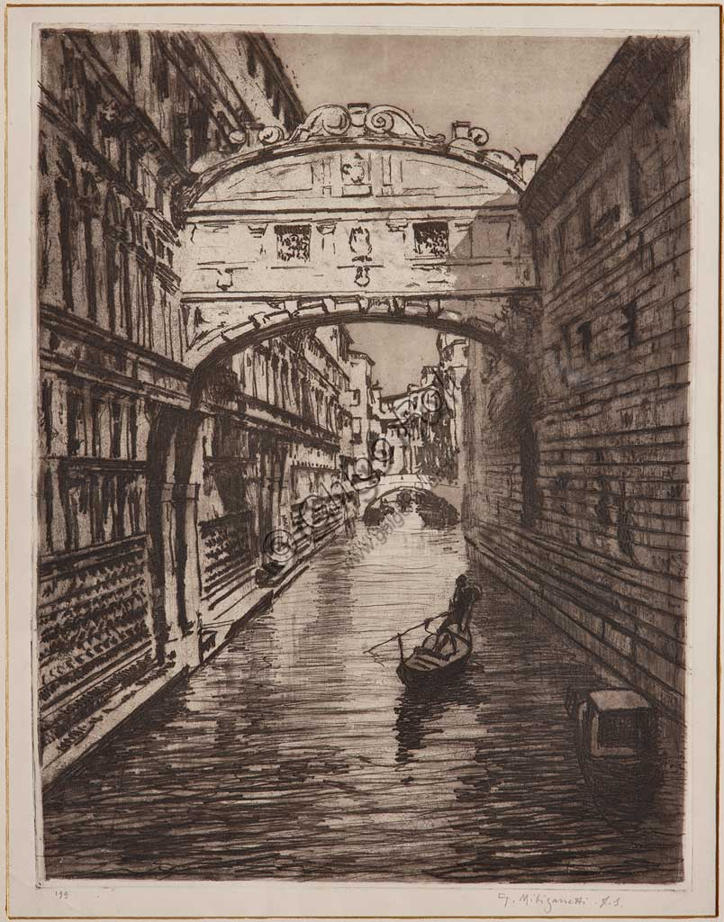 "Assicoop - Unipol Collection: ""The Bridge of Sighs"", etching  on white paper, by Giuseppe Miti Zanetti (1859 - 1929)."