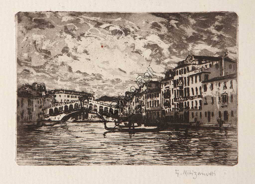 "Assicoop - Unipol Collection: ""The Rialto Bridge in Venice"", etching and aquatint on white paper, by Giuseppe Miti Zanetti (1859 - 1929)."