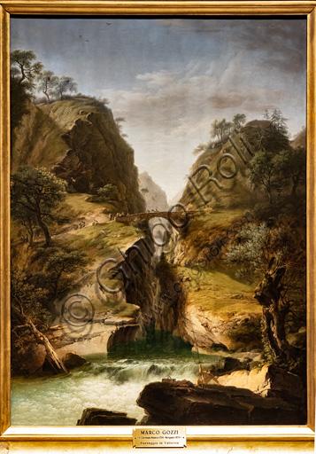 "Marco Gozzi: ""The bridge of Varallo, creek in Valsesia"", 1818, oil on canvas."