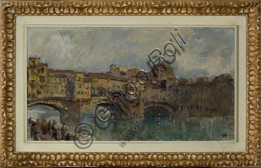 """Giuseppe Graziosi (1879 - 1942): """"Ponte Vecchio a Firenze"""" (olio su tela, 35 x 61 cm)."""
