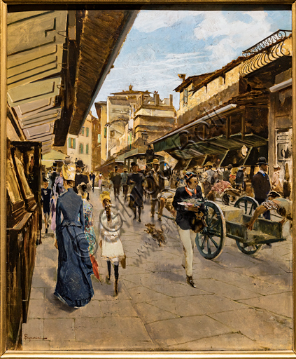 """Telemaco Signorini: """"Old Bridge in Florence"""", about 1882, oil painting on canvas."""