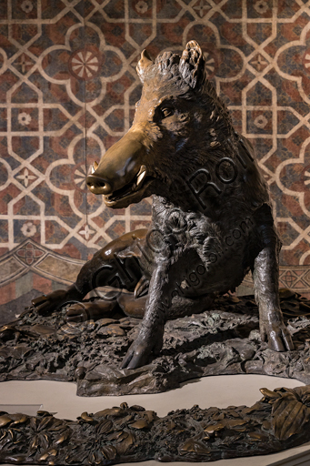 """""""Little Pig (porcellino)"""", bronze sculpture by Pietro Tacca, 1633, as a praise of the Grand Duke Cosimo I during the hunt, copy of a Hellenistic marble."""