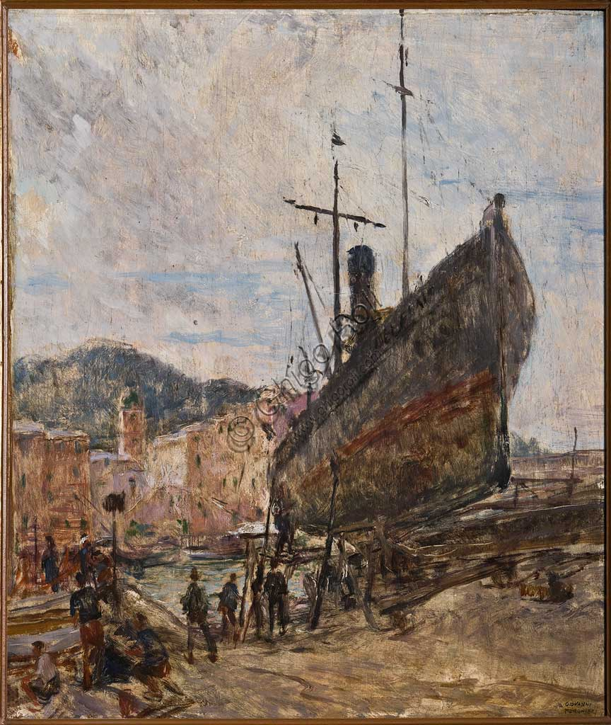 "Assicoop - Unipol Collection:  Giovanni Forghieri, ""Harbour and Boat"", oil painting."