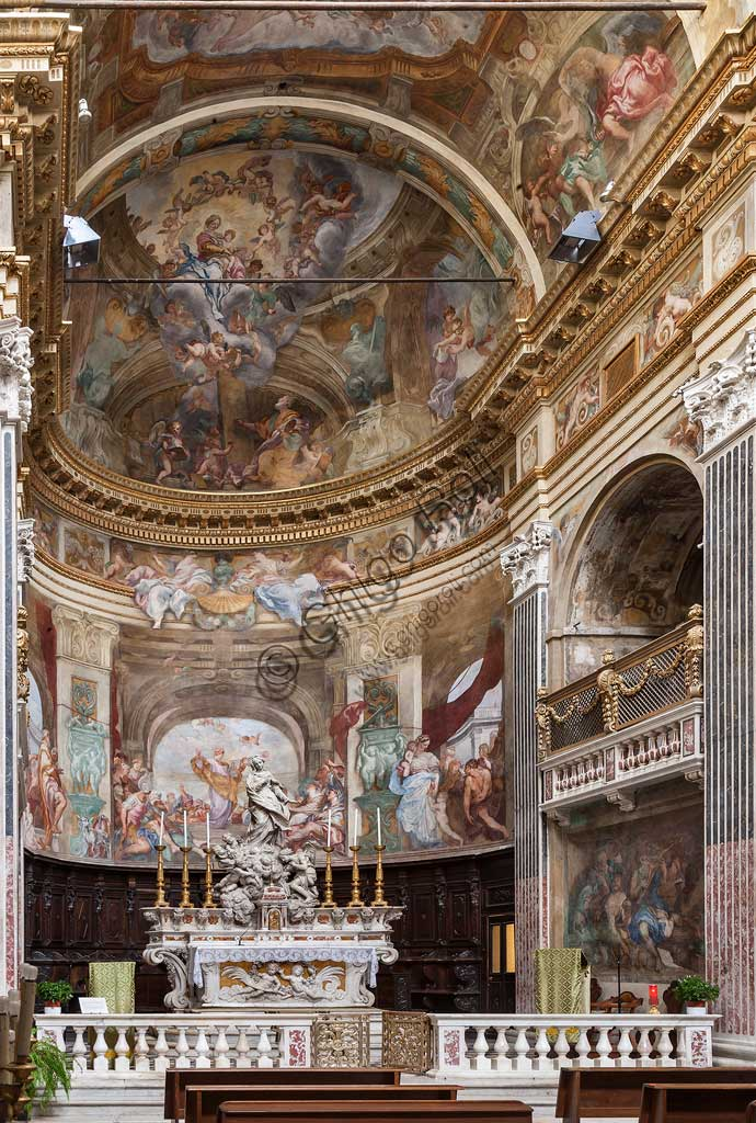 "Genoa, Church of St. Luke, frescoes in the choir and in the apse: ""St.Luke's preach"" ""St Luke portrays the Vergin and shows her her image"", by Domenico Piola and Antonio Maria Huffier, 1695."