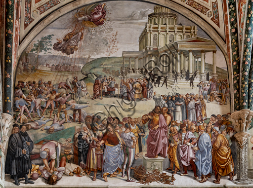 """Orvieto,  Basilica Cathedral of Santa Maria Assunta (or Duomo), the interior, Chapel Nova or St. Brizio Chapel, lunette of the west wall: """"Preaching and the facts of the Antichrist"""", fresco by Luca Signorelli, (1500 - 1502). The men dressed in black on the left hand side of the wall are the portratis of Luca Signorelli and Beato Angelico."""