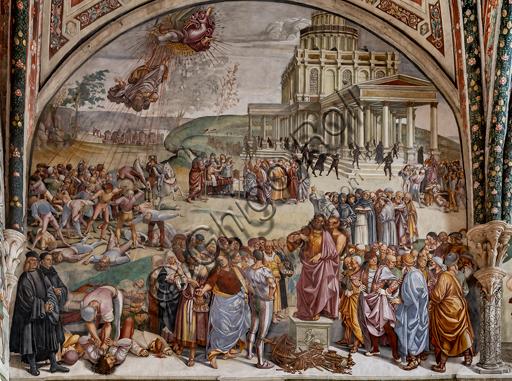 """Orvieto, Basilica Cattedrale di Santa Maria Assunta (o Duomo), interno, Cappella Nova o di San Brizio, lunetta della parete ovest: """"Predica e fatti dell'Anticristo"""", affresco di Luca Signorelli, (1500 - 1502). I personaggi vestiti di nero in basso a sinistra sono i ritratti di Luca Signorelli e Beato Angelico."""