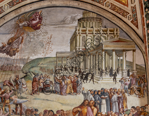 """Orvieto,  Basilica Cathedral of Santa Maria Assunta (or Duomo), the interior, Chapel Nova or St. Brizio Chapel, lunette of the west wall: """"Preaching and the facts of the Antichrist"""", fresco by Luca Signorelli, (1500 - 1502). Detail."""