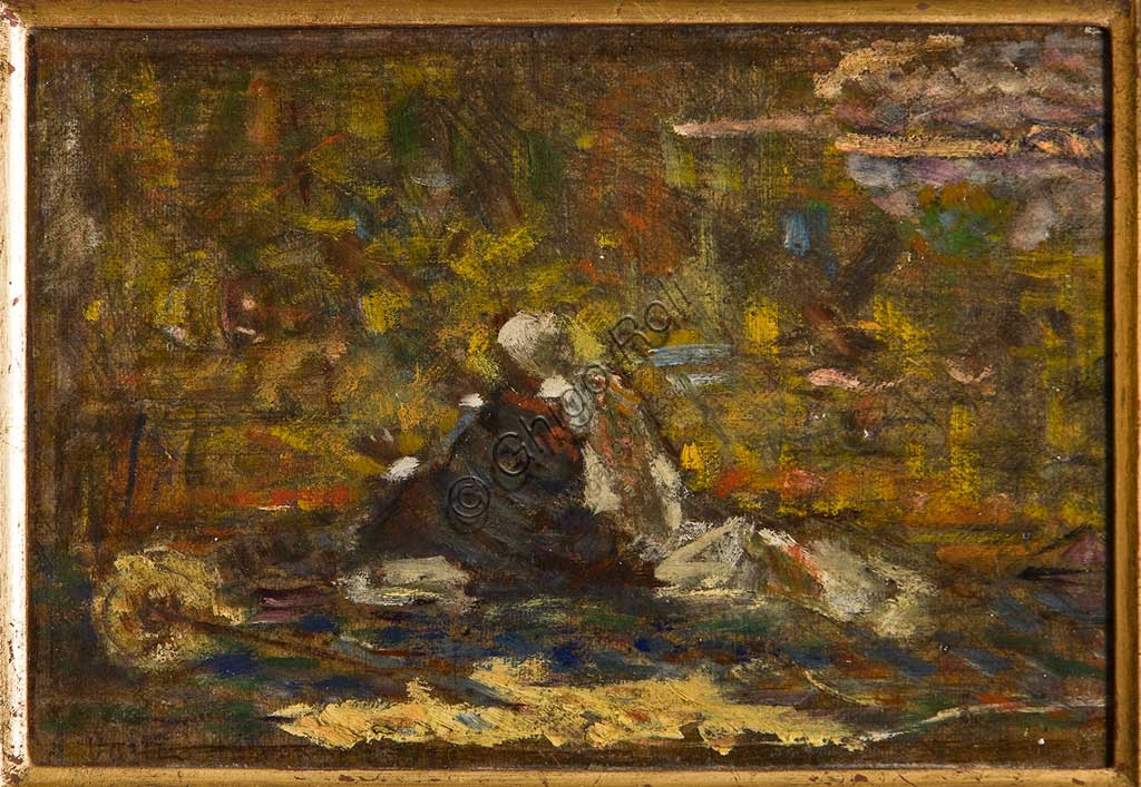"Assicoop - Unipol Collection:  Augusto Valli, ""The Prayer"";  oil on cardboard."