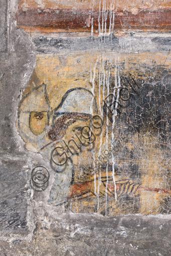 """Genova, Duomo (Cattedrale di S. Lorenzo), interno, navata meridionale, parete meridionale: """"La presa delle città di Minorca, Almeria e Tortosa"""", 1150 circa, di anonimo pittore genovese. Particolare."""