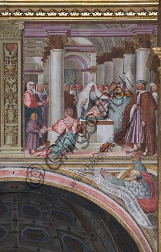 """Cremona, Duomo (Cattedrale di S. Maria Assunta), interno, navata mediana, prima campata sinistra, quinto arcone: """"Presentazione di Gesù al Tempio"""", affresco di Giovanni Francesco Bembo, 1515."""