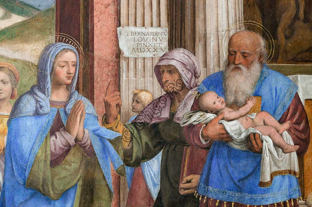 "Saronno, Shrine of Our Lady of Miracles: Presbytery (or Main Chapel): ""Presentation of Jesus at the Temple"", fresco by Bernardino Luini, 1525 - 1532. Detail."