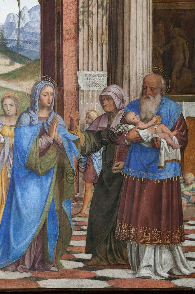 """Saronno, Shrine of Our Lady of Miracles: Presbytery (or Main Chapel): """"Presentation of Jesus at the Temple"""", fresco by Bernardino Luini, 1525 - 1532. Detail."""