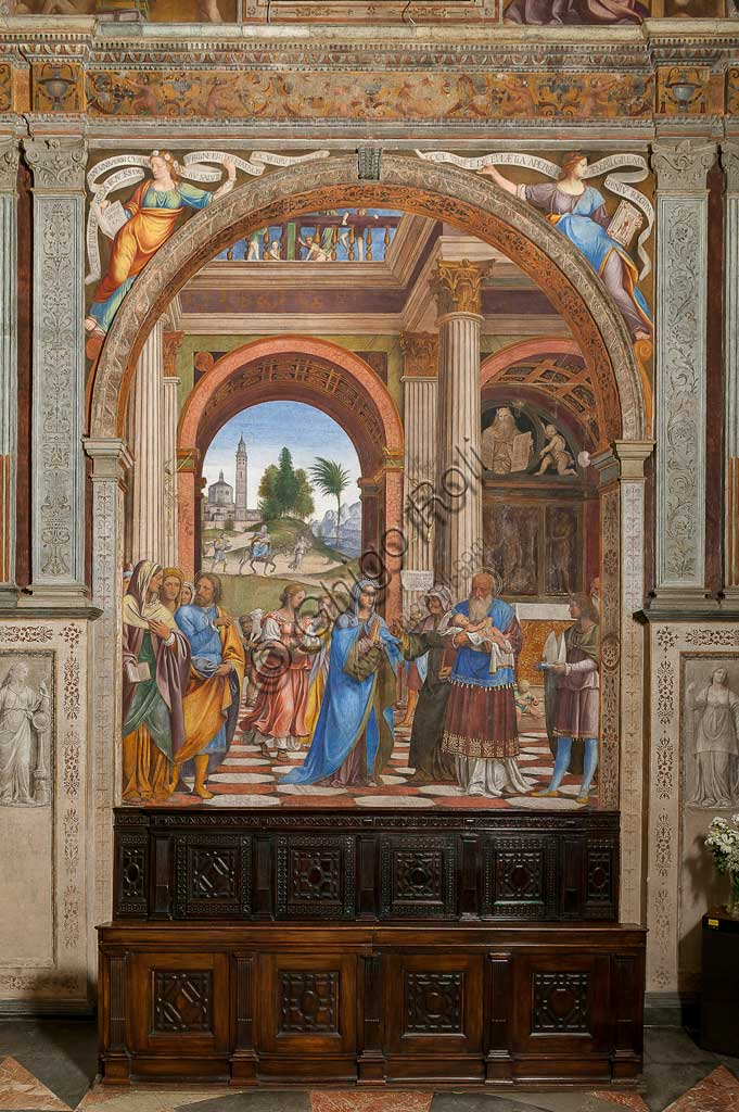 """Saronno, Shrine of Our Lady of Miracles: Presbytery (or Main Chapel): """"Presentation of Jesus at the Temple"""", fresco by Bernardino Luini, 1525 - 1532."""