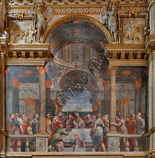 """Genova, Duomo (Cattedrale di S. Lorenzo), interno, Cappella Lercari o del Santissimo Sacramento (abside settentrionale),  fianco settentrionale: """"Presentazione di Gesù al Tempio"""", affresco di Luca Cambiaso, 1567-1569."""