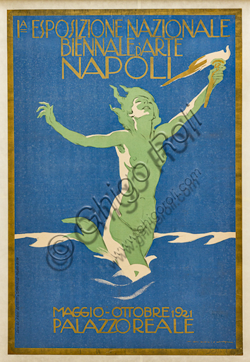 """""""First National Biennial Art Exhibition, Naples, May - October 1921, Palazzo Reale"""", Illustration for the advertising poster by Marcello Dudovich,1920-21,  chromolithography on paper."""
