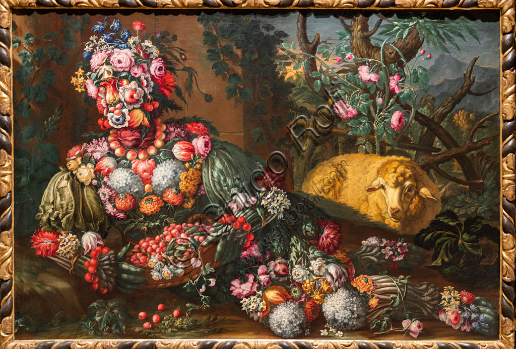 "Brescia, Pinacoteca Tosio Martinengo: ""Spring"", oil on canvas by Antonio Rasio inspired by the Metamorphoses by Ovid. The fanciful composition of seasonal fruits and flowers is as seen in paintings by Arcimboldo."