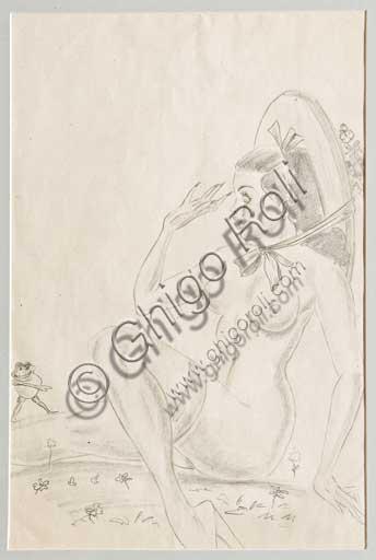 """Collezione Assicoop Unipol: Mario Molinari (1903 - 1966) """" La primavera"""". Disegno erotico a matita, cm 32 x 21."""