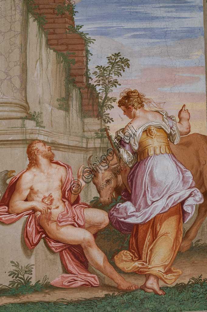 """Fanzolo, Villa Emo, the Io room: """"Spring and Autumn"""". Fresco by Giovanni Battista Zelotti, about 1565."""