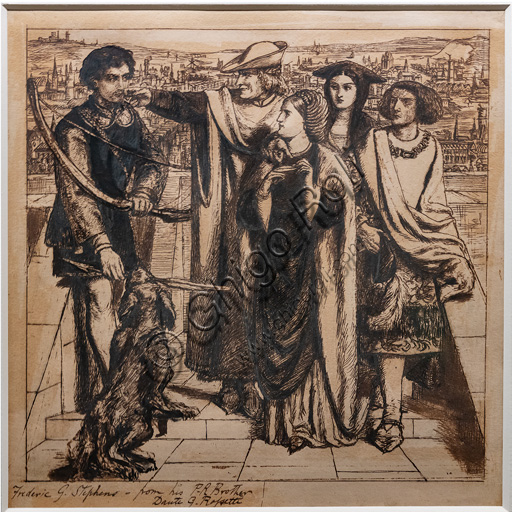 """""""Taurello's first sight of Fortune"""",(1849)  by Dante Gabriel Rossetti (1828-1882); ink on paper."""