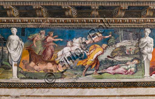 Rome, Villa Farnesina, The Hall of Perspectives: the ample frieze with mythological scenes inspired by the Ovid  Metamorphoses.  Detail of Procris impaled by the never erring javelin and Cephalus running towards her. On the left, Aurora and Titone on a chariot pulled by four horses. Aurora seems to be in some way responsible of the death of Procri, having caused her jealousy.In the backround, preceeding the cart, Venus, (Hesperus?) holding a star.Frescoes by Baldassarre Peruzzi and workshop (1517-18).