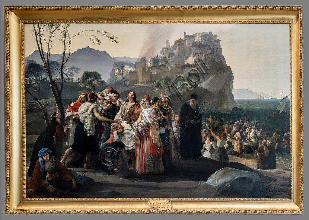 "Brescia, Pinacoteca Tosio Martinengo: ""The Refugees pf Parha, oil on canvas, by Francesco Hayez,1826-31."
