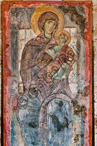 "Palermo, The Royal Palace or Palazzo dei Normanni (Palace of the Normans), The Palatine Chapel (Basilica), the Crypt (Lower Church): ""Protesis Vergine Theotokos"", detached byzantine fresco."