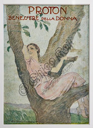 """Proton, The Woman's Wellness"", Illustration by Marcello Dudovich, 1922, letterpress print."